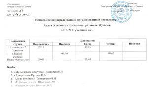 Расписание НОД Музыка 2016-2017 уч.гПушкарёва Е.И